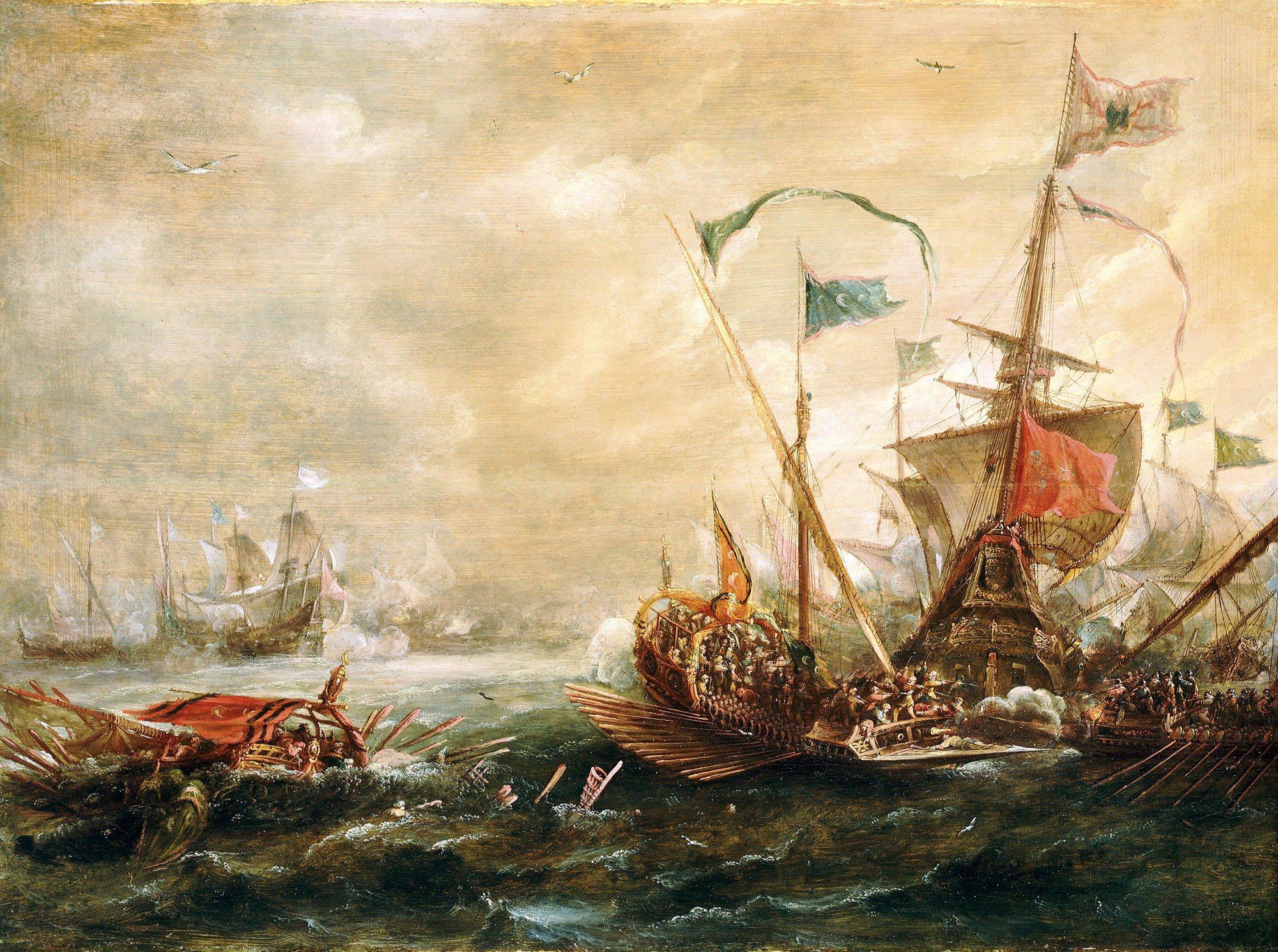 Asalto en el mar. Óleo sobre lienzo. Andries van Eertvelt, 1620