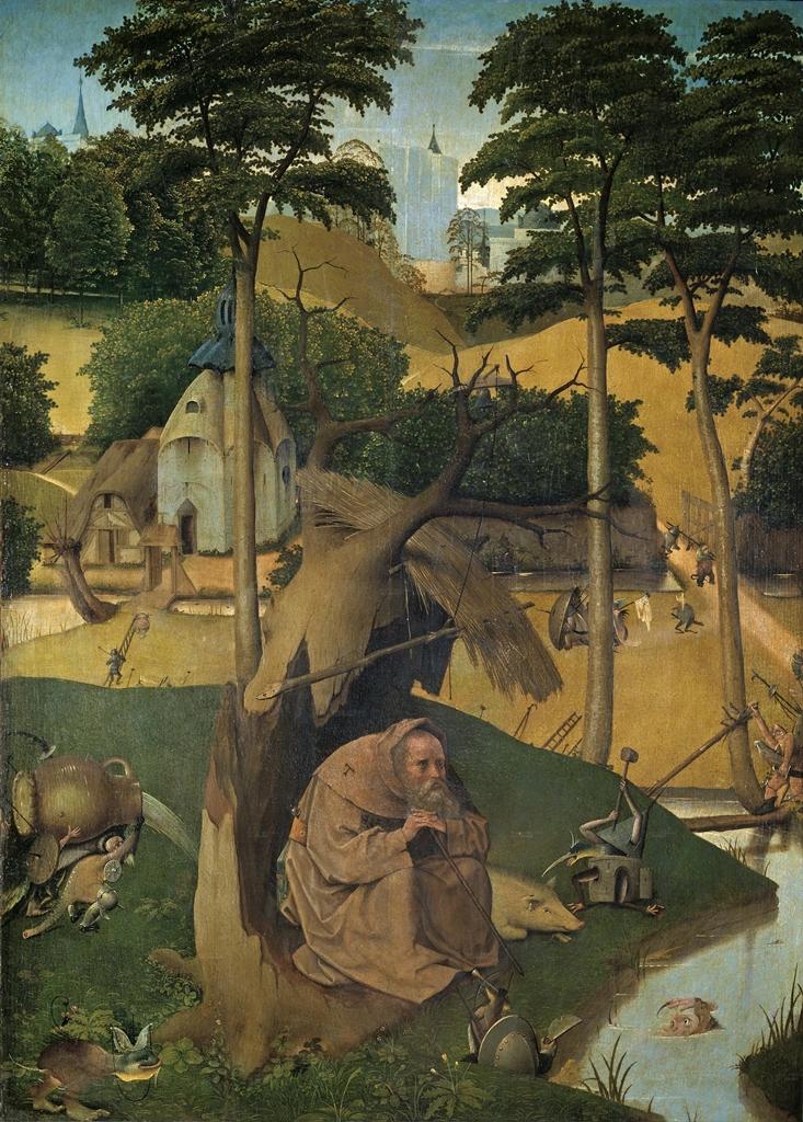 3 Las Tentaciones de San Antonio. Oleo sobre tabla. El Bosco, 1500-1525. Museo del Prado