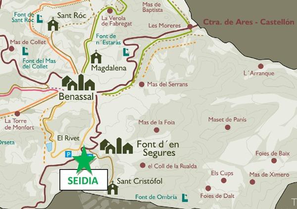 mapa seidia castellón en Ruta benasal colonias de verano en inglés