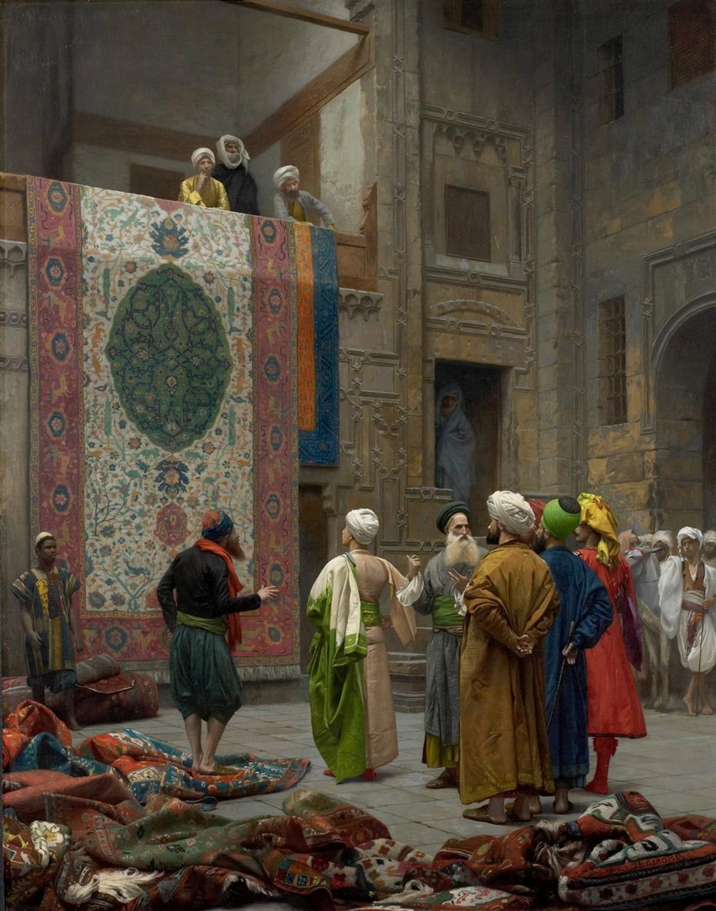 El mercader de alfombras. Jean-Léon Gérôme. Óleo sobre lienzo, 1887
