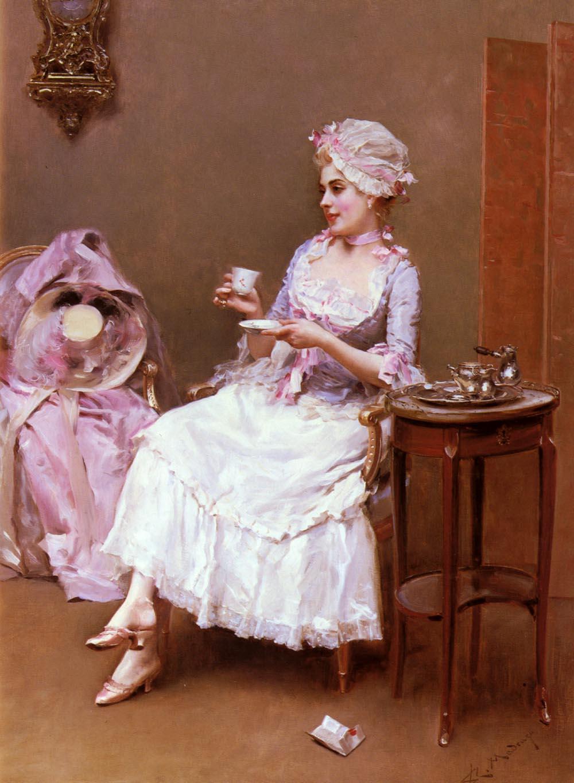 7. Mujer tomando una tada de chocolate. Obra de Raimundo de Madrazo. Oleo sobre lienzo. 1841-1920