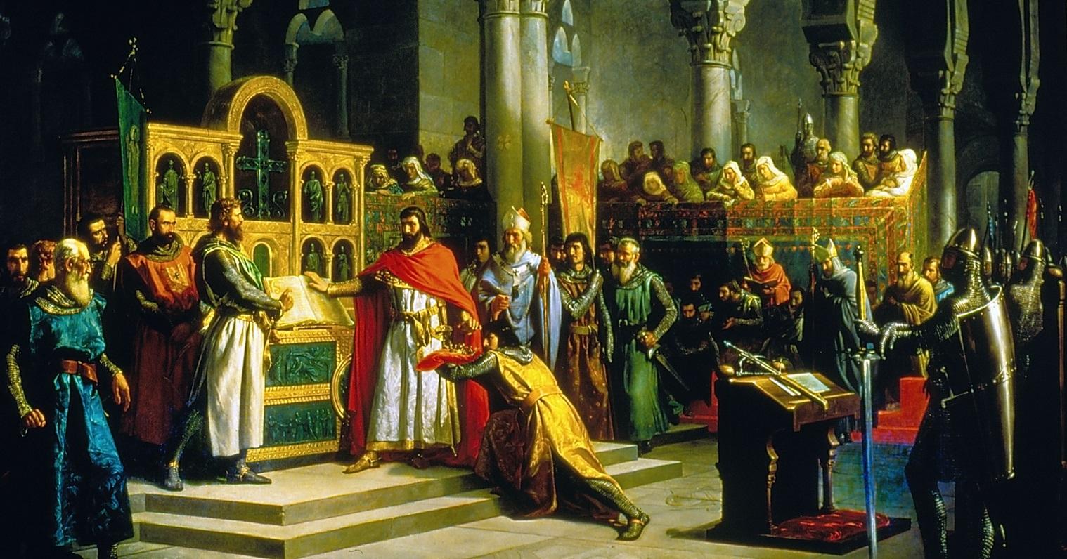 Alfonso VI y el Cid Campeador en La Jura de Santa Gadea. Marcos Giráldez de Acosta (1830_1896). Óleo sobre lienzo