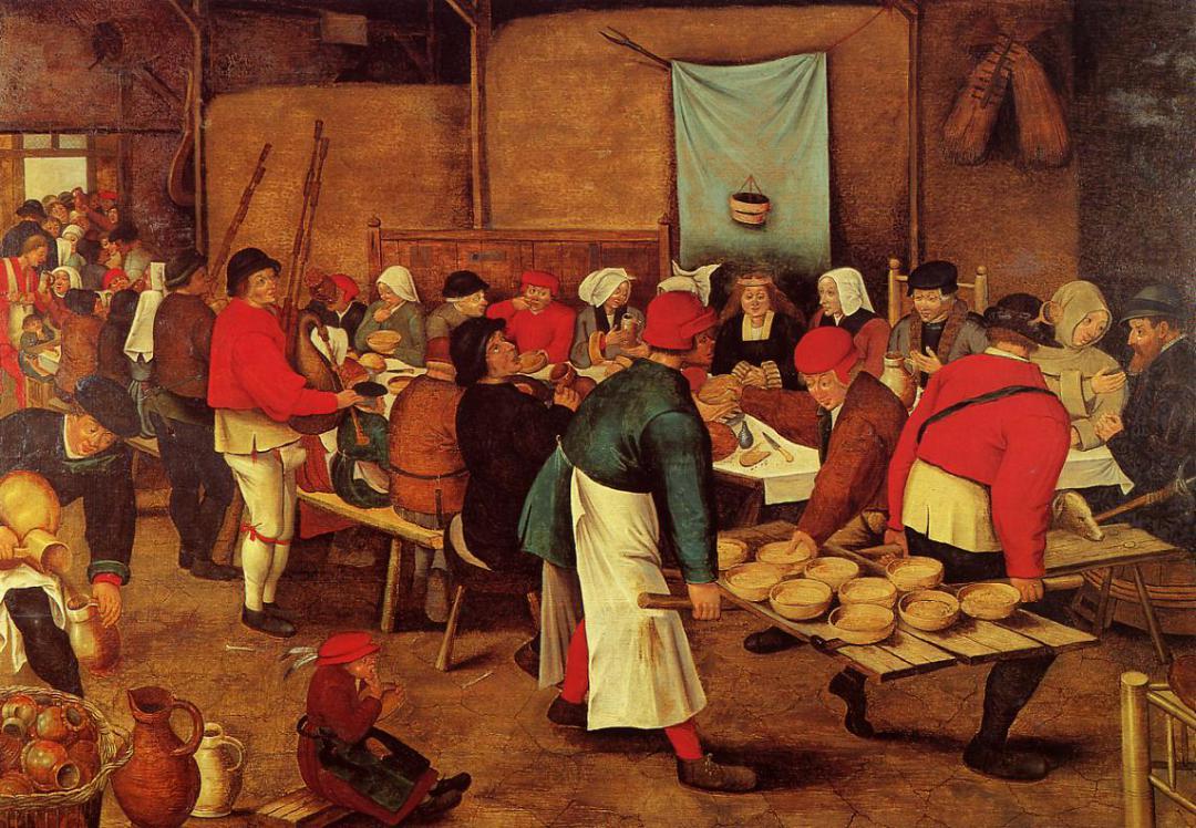 Un banquete medieval. Obra de Pieter Brueghel, el Joven (1564-1638)