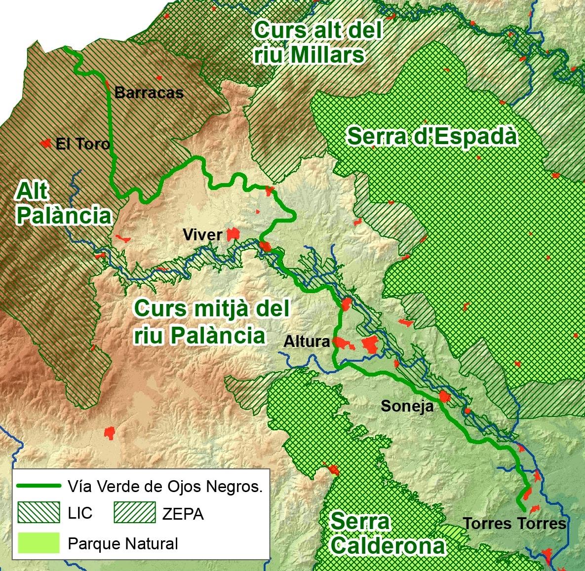 mapa via verde ojos negros castellon comunitat valenciana naturaleza