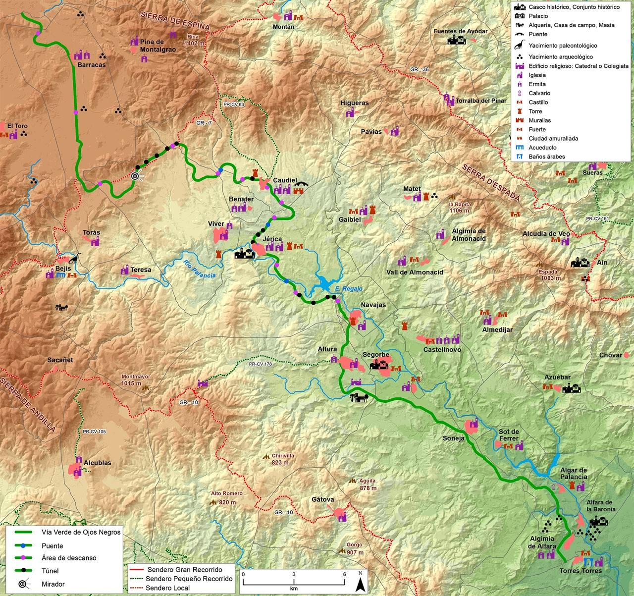 mapa via verde ojos negros castellon comunitat valenciana